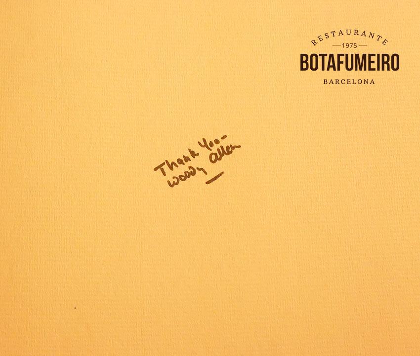 Libro de Visitas Botafumeiro · Woody Allen